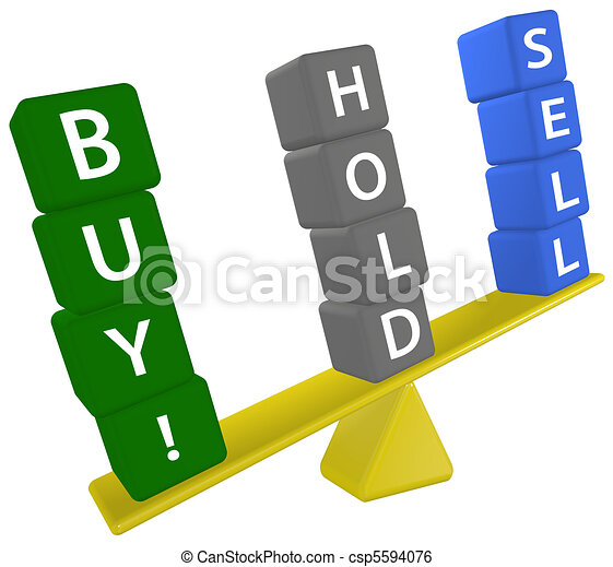 Stock investing scale decision BUY SELL HOLD - csp5594076