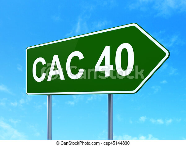 Stock Market Indexes Concept Cac 40 On Road Sign Background
