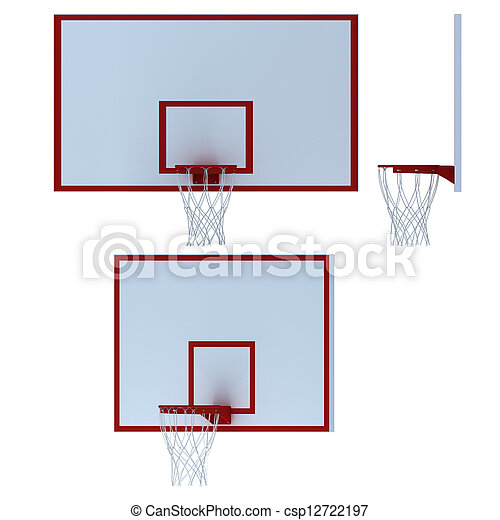 Stock Photo: Basketball hoop on white background  - csp12722197