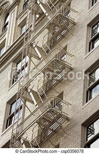 Stock Photo of a Fire Escape on Historic Building - csp0356078