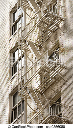 Stock Photo of a Fire Escape on Historic Building - csp0356080