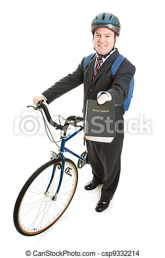 Stock Photo of Religious Missionary with Bicycle - csp9332214