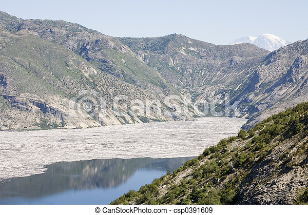 Stock Photo of Spirit Lake at Mount St. Helens National Monument with Mount Rainier in the Background - csp0391609