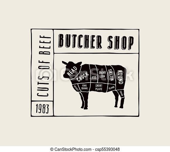 Stock Vector Beef Cuts Diagram In The Style Of Handmade Graphics
