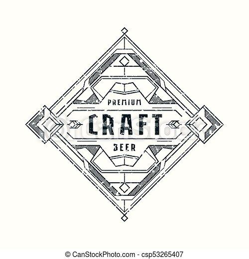 Stock Vector Craft Beer Label Design Vintage Frame For Logo Emblem