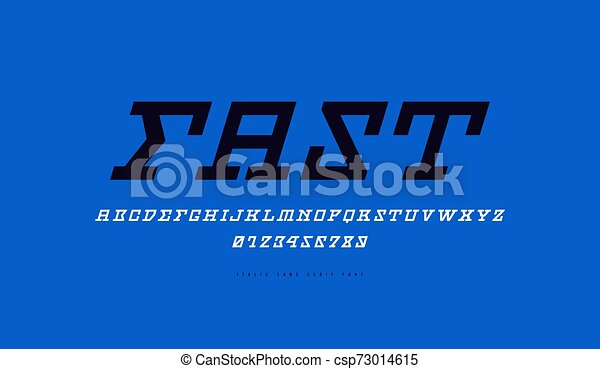 Stock Vector Italic Slab Serif Font Letters And Numbers For Sci Fi Movie Cyber And Space Logo Design Print On Blue