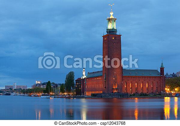 Stockholm City Hall at night - csp12043768