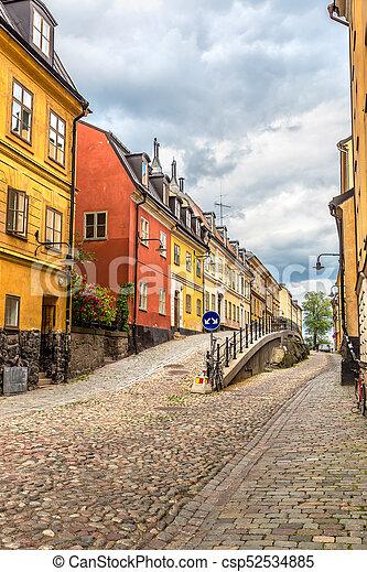Enge Straße in Stockholm, Schweden - csp52534885