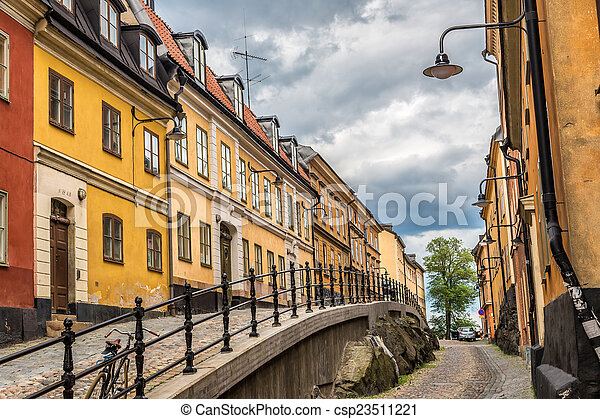 Enge Straße in Stockholm, Schweden - csp23511221