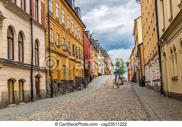 stockholm, engen straße, schweden - csp23511222