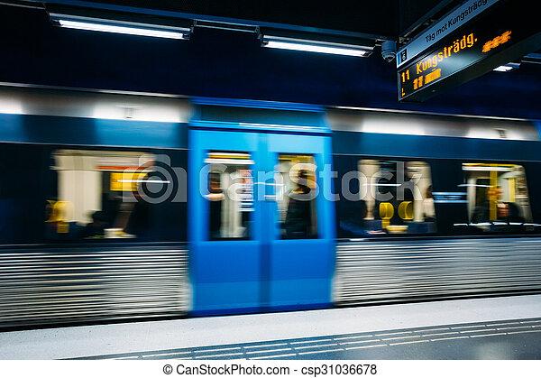 Stockholm Metro Train Station in Blue colors, Sweden - csp31036678