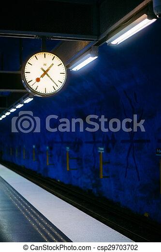 Stockholm Metro Train Station in Blue colors, Sweden - csp29703702