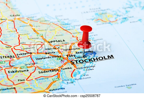 Close up of stockholm sweden map with red pin travel pictures