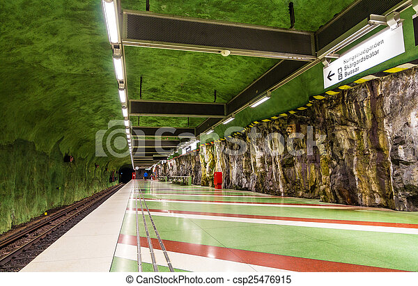 STOCKHOLM, SWEDEN - MAY 30: Interior of Kungstradgarden metro st - csp25476915