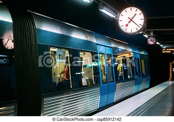 Stockholm, Sweden. Modern Illuminated Metro Underground Subway Station With Train - csp85912142