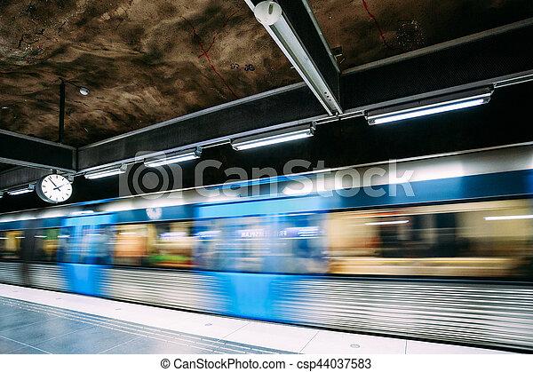Stockholm, Sweden. Modern Stockholm Underground Subway Metro Train Station - csp44037583