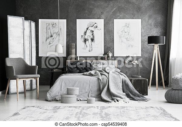 Stoel, grijze , slaapkamer. Bedsheets, koning, scherm, grijze , bed ...