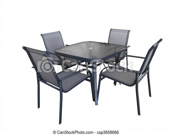 Stoelen glas buitene tafel. buiten stoelen clipping path