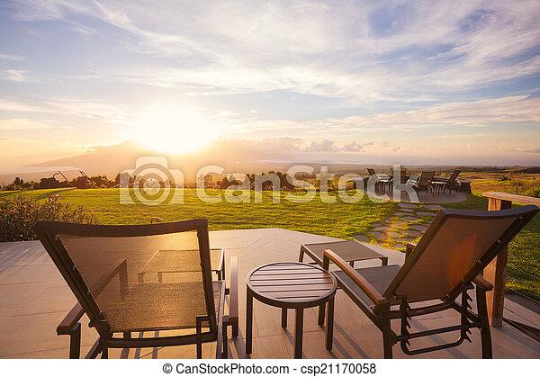 stoelen, ondergaande zon , dek - csp21170058