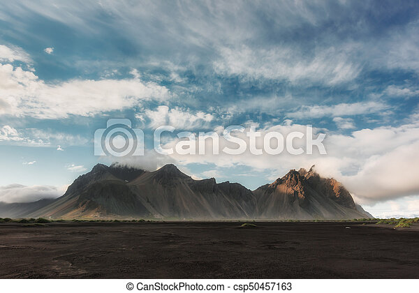Stokksnes mountains and black desert - csp50457163
