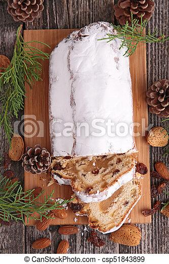 stollen fruit, christmas stollen - csp51843899