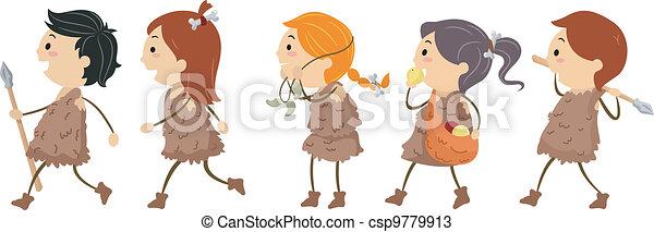 stone age kids. illustration of kids dressed like people vectors
