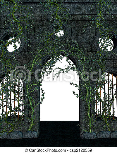 Stone and Vine Wall - csp2120559