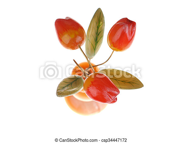 stone bouquet of tulips on a white background - csp34447172