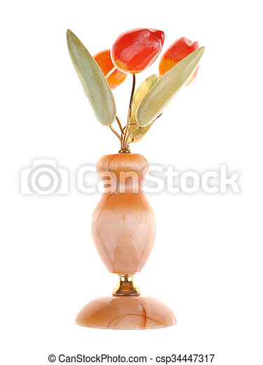 stone bouquet of tulips on a white background - csp34447317