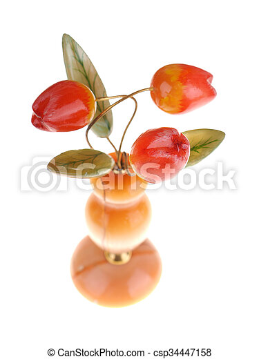 stone bouquet of tulips on a white background - csp34447158
