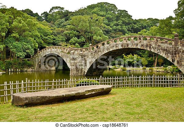 Stone Bridge In Japanese Garden At Isahaya Japan