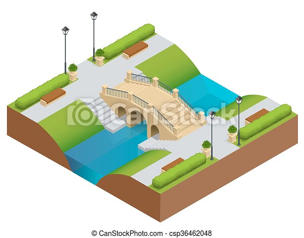 Stone bridge over river. Romantic bridge stone in park. Flat vector landscape with a picture of the nature. Place for rest and walks. Flat 3d vector isometric illustration. - csp36462048