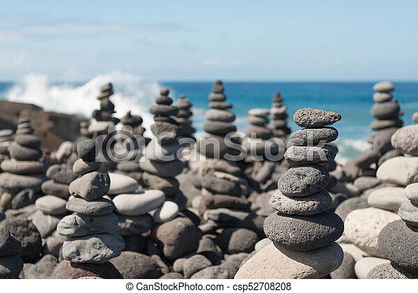 stone cairn grey stone cairn on the island teneriffa