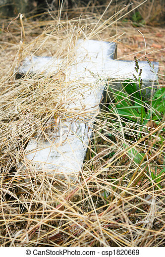 Stone Cross in the Grass - csp1820669