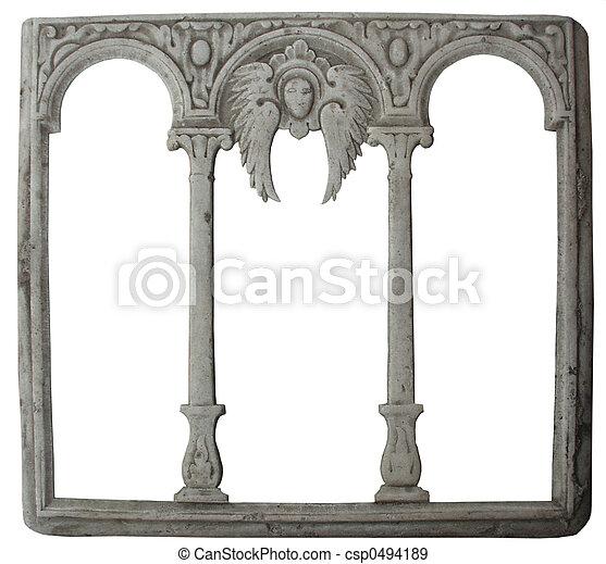Stone frame. Old stone decorated frame. isolated stock photographs ...