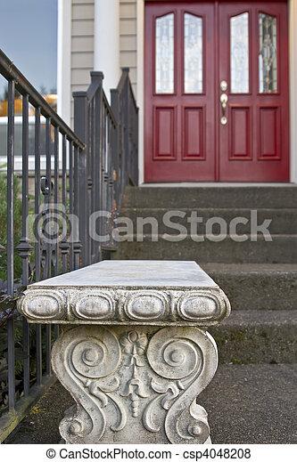 Stone Garden Bench by the Front Door - csp4048208