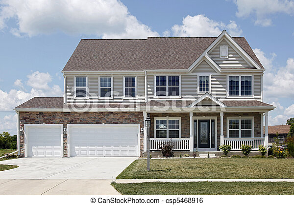 Stone home with front porch - csp5468916