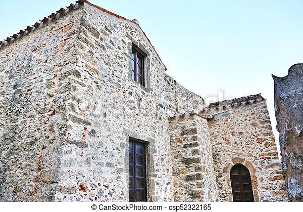stone houses at Monemvasia castle Peloponnese Greece - csp52322165