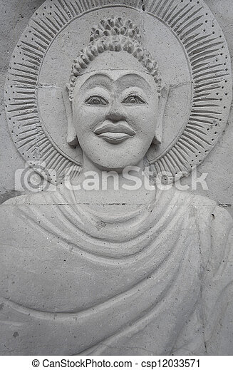 Stone image of Buddha on the wall - csp12033571