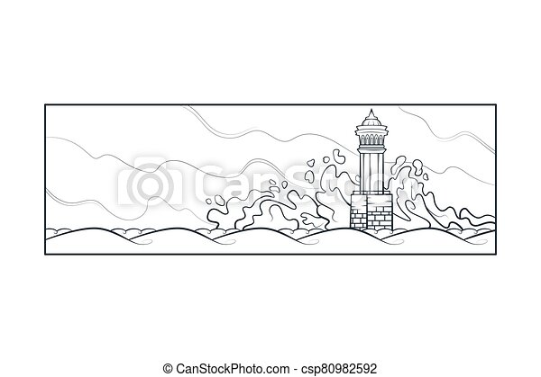 Stone lighthouse tower. Big sea waves beat against the rocks. Bad weather at sea - csp80982592