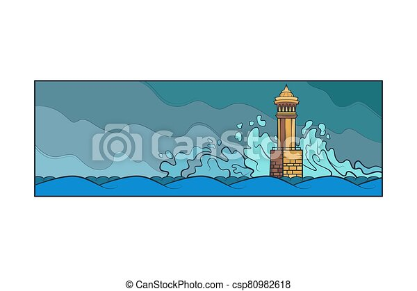 Stone lighthouse tower. Big sea waves beat against the rocks. Bad weather at sea - csp80982618