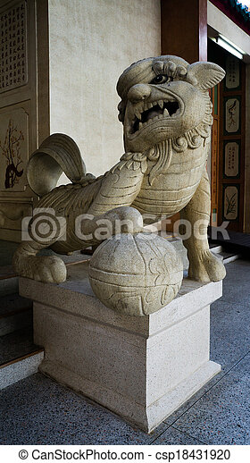 Stone lion at entrance of The Chinese temple - csp18431920