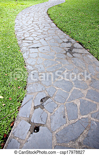 Stone of walkway in the garden. - csp17978827