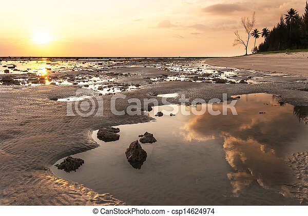 stone on the beach in sunset - csp14624974