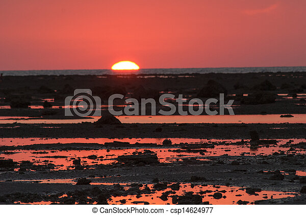stone on the beach in sunset - csp14624977