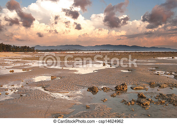 stone on the beach in sunset - csp14624962