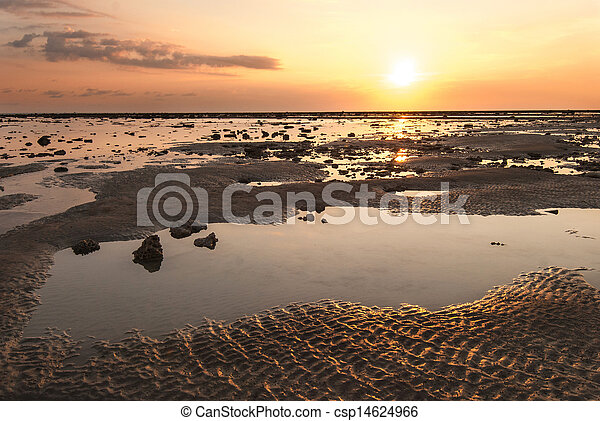 stone on the beach in sunset - csp14624966