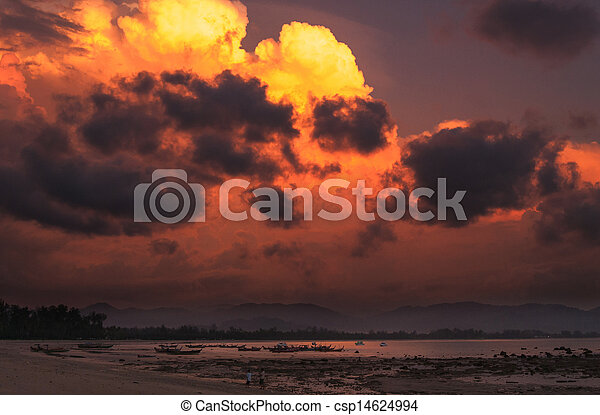 stone on the beach in sunset - csp14624994