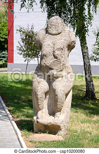 Stone polovtsian sculpture in park-museum of Lugansk, Ukraine - csp10200080