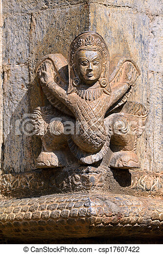 Stone relief, sculpture of Shiva the destroyer - csp17607422